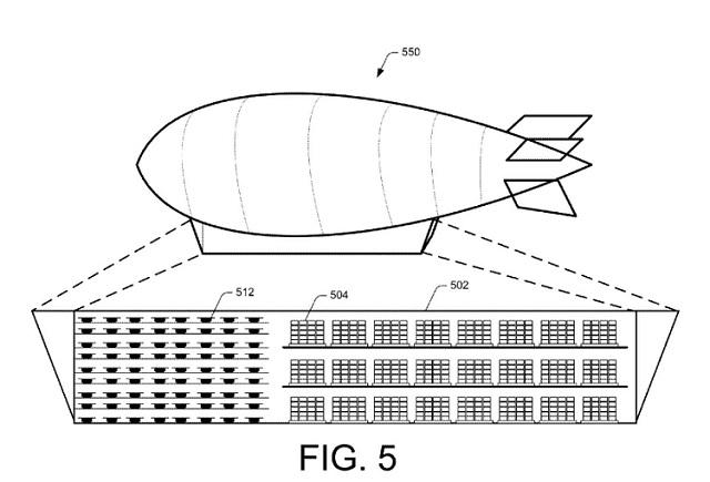 gráfico patente dirigible distribución drones reparto